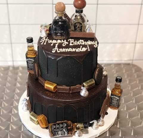large 2tier black ultimate drip cake (YOU PROVIDE BOTTLES)