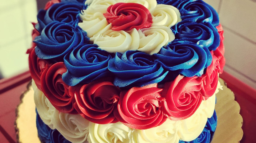 "6"" Red, White, and Blue striped rosette cake"