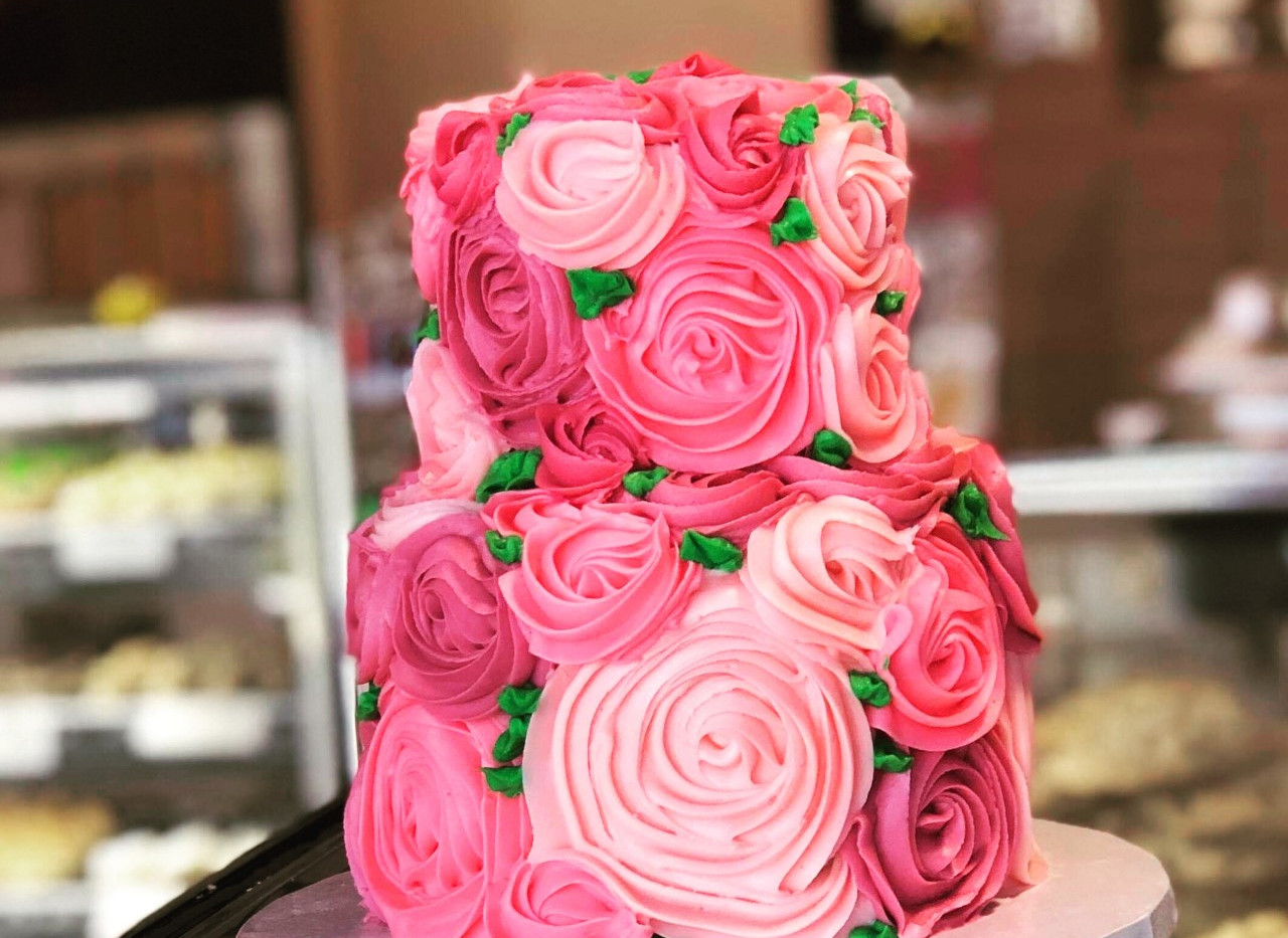 small 2tier shades of pink garden rosette cake