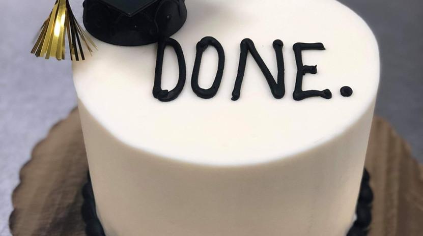 """6"""" DONE. grad cake"""