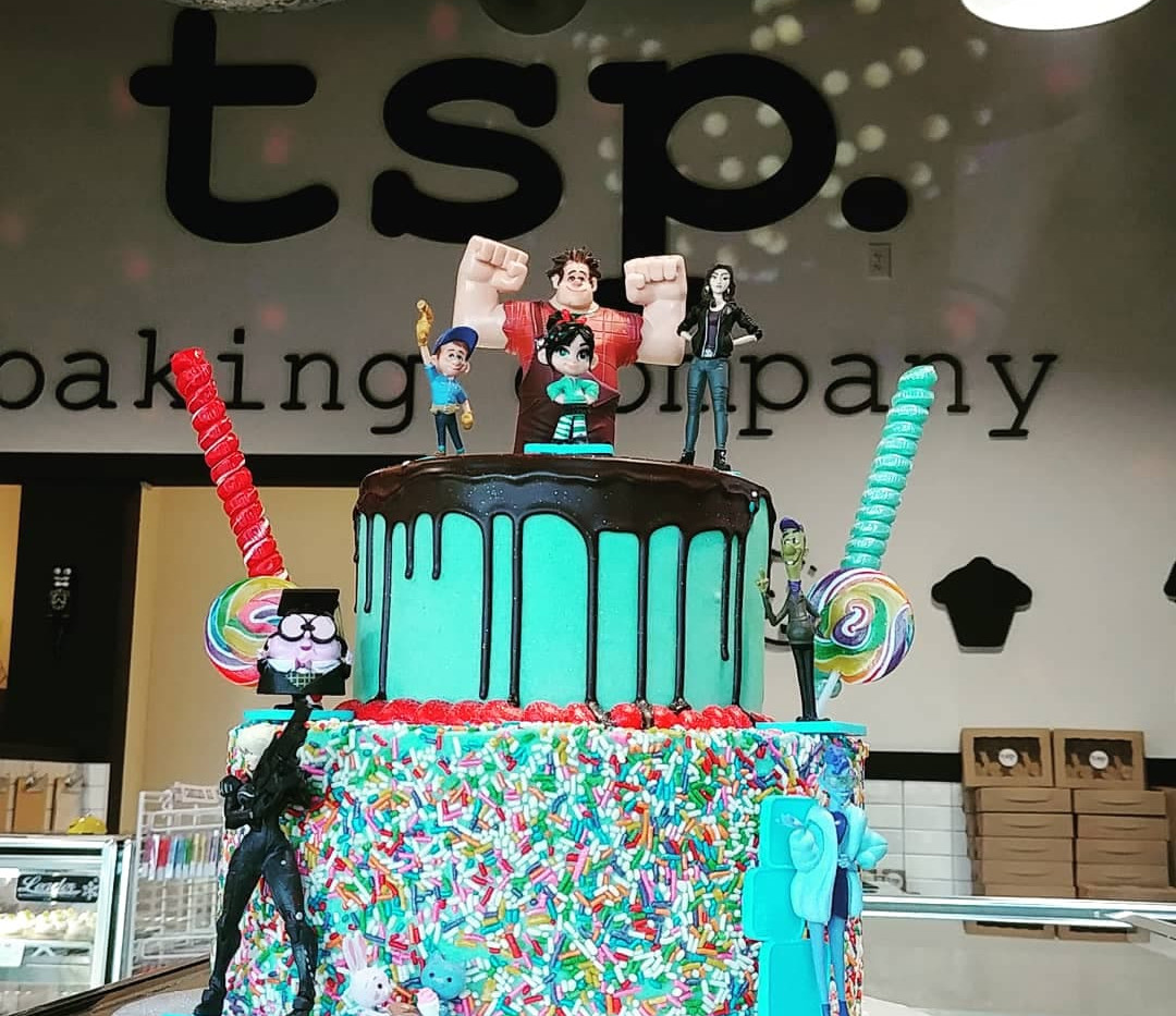 large 2tier teal cake with sprinkles and chocolate drip (YOU PRIVIDE TOYS AND CANDY)