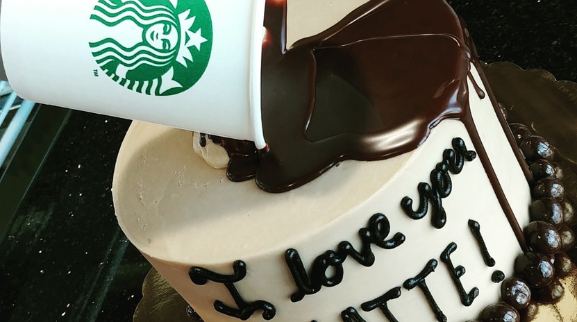 "6"" I love you a LATTE drip cake"