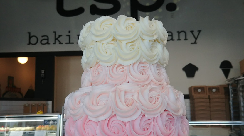 small 2tier light pink to white ombre rosettes cake