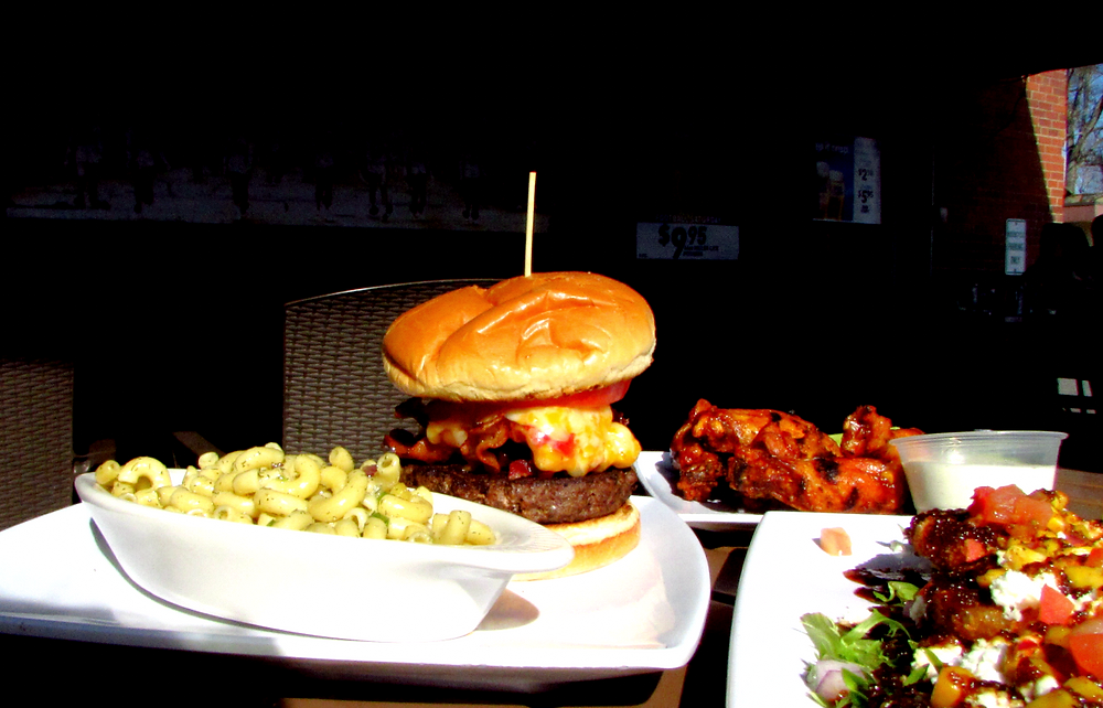 Glenway's large burger and a plate of crispy fries