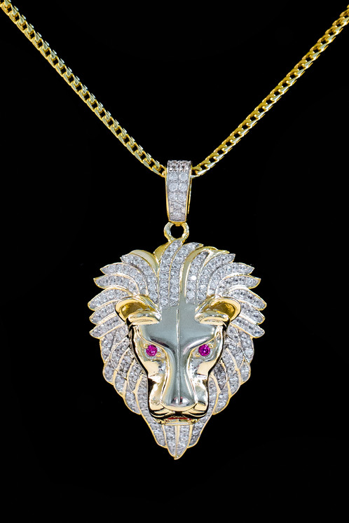 Micro lion necklace micro lion pendant aloadofball Image collections