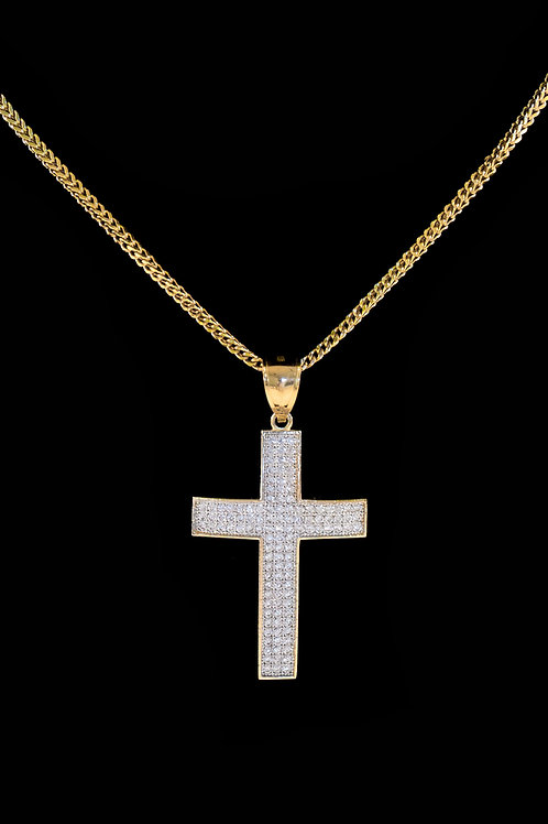 10K Gold Micro Diamond Cross Pendant