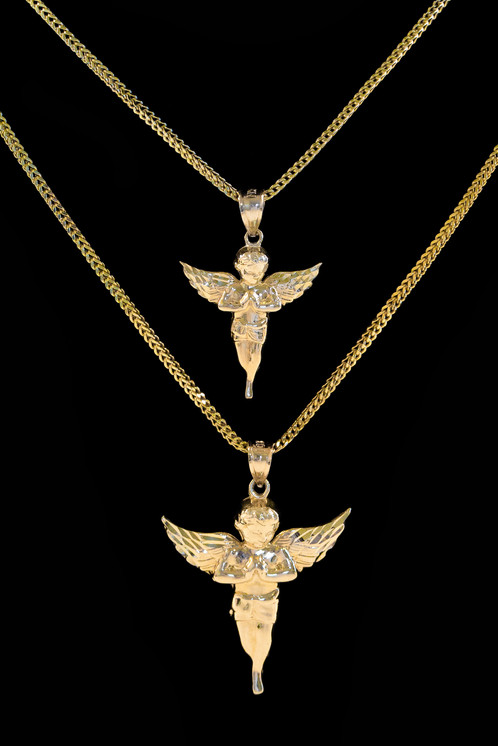 10k gold angel pendant set streetwear jewelry cali co jewelry angel pendants are a staple in high fashioney have been seen on some of the biggest influencers of our time our premium handcrafted angel pendants will aloadofball Choice Image