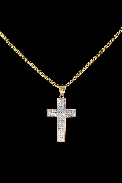 10K Gold Nano Diamond Cross Pendant