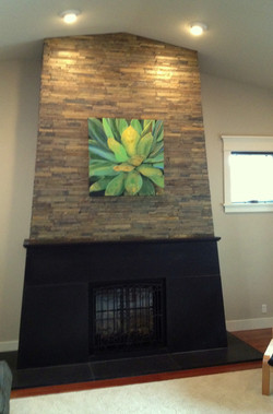 Fireplace with Site Built Cast Concrete