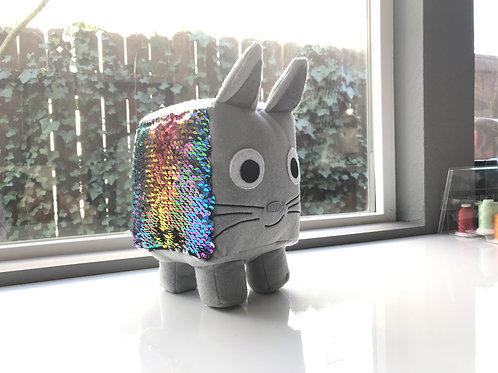 Custom Roblox Pet Simulator- Reversible sequin Rainbow cat Plush