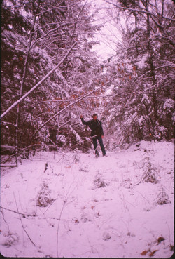 1974-11 Greg Harper on the logging road, which later became the Gold Lake Road