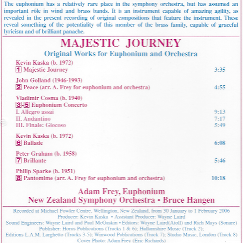 Majestic Journey track list Original Works for Euphonium and Orchestra Adam Frey New Zealand Symphony Orchestra Bruce Hangen conductor