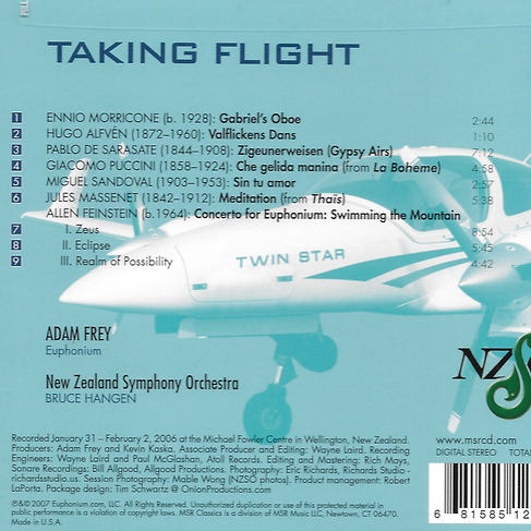 Taking Flight track list Adam Frey Euphonium New Zealand Symphony Orchestra Bruce Hangen conductor