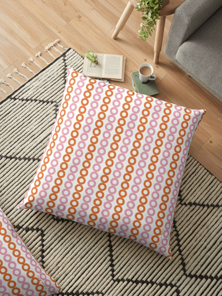 Coussin rose orange 01