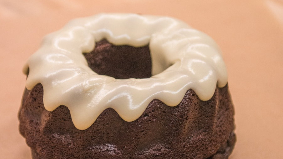 6 inch Chocolate Bundt Cake with Passion Fruit Glaze