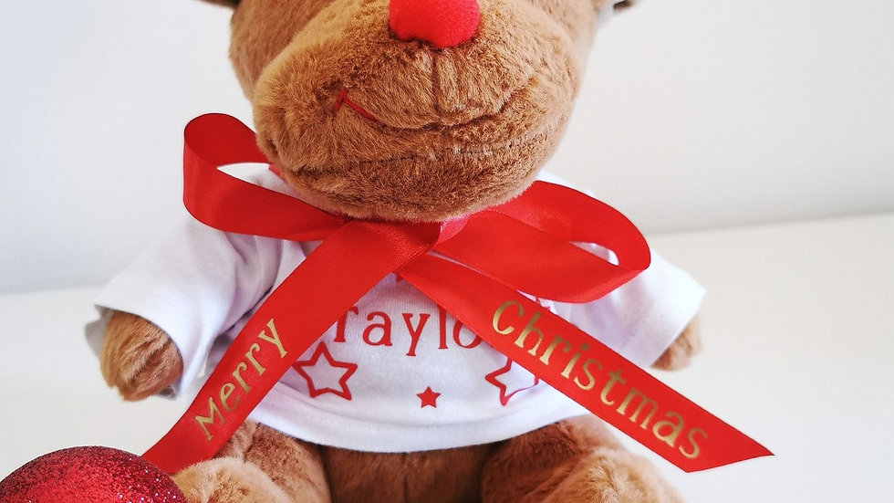 Personalised Christmas Reindeer Soft Toy with Merry Christmas Ribbon Bow