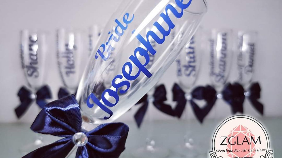 Personalised Champagne Flute with Bow