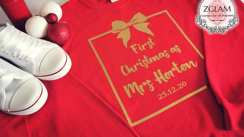 """Personalised """"First Christmas as Mrs ...  """"Jumper Sweatshirt"""
