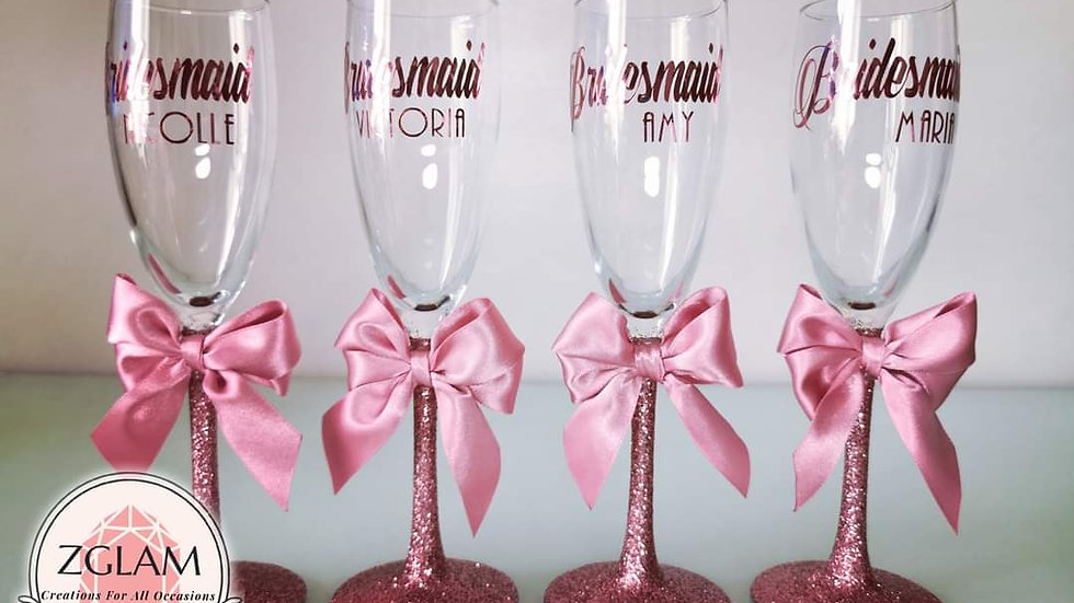 Glittered Personalised Champagne Flute with Bow