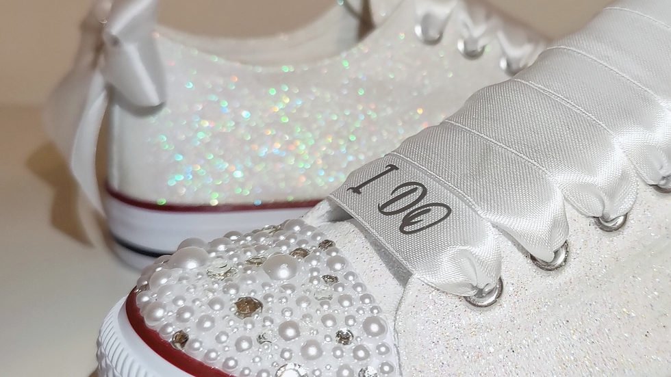 Glittery Wedding Converse Style Trainers