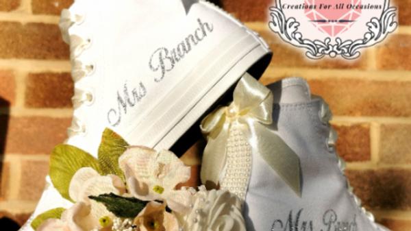 Wedding High Top Mono Converse Bridal Shoes