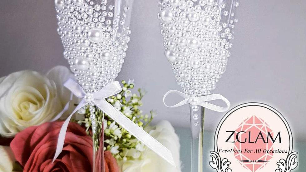 Pearl Mr&Mrs Champagne Flutes
