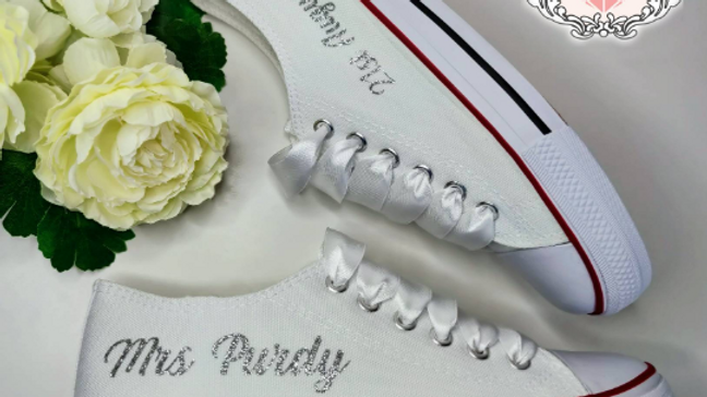 Personalised Wedding Converse Style Trainers Bridal Shoes