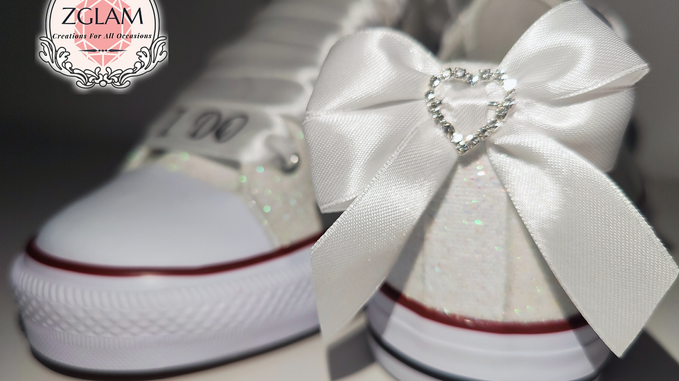 Personalised Wedding Glitter Converse Style Trainers