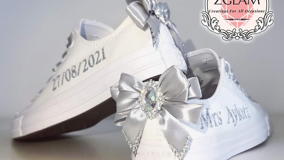 Wedding Low Top Mono Converse and Frilly Socks