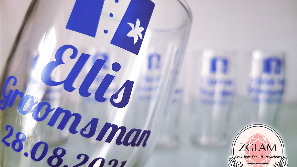 Personalised Wedding Pint Glass Groom Groomsman