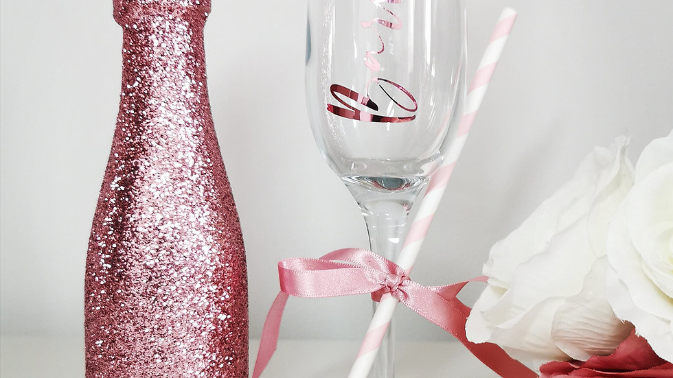 Personalised Flute and mini Bottle of Prosecco