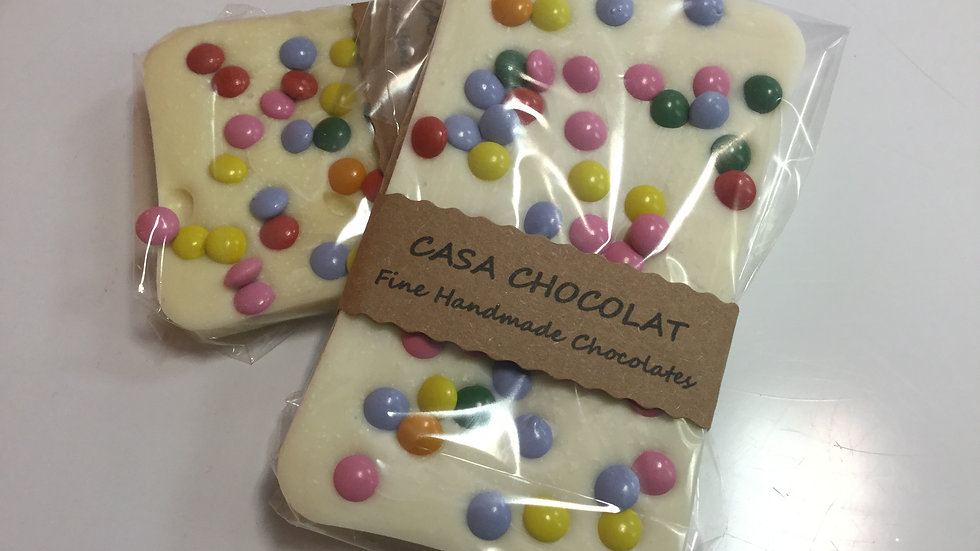 White chocolate slab with smarties 200g