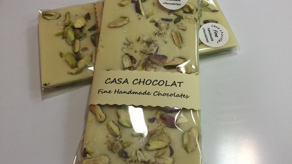 White chocolate & pistachio slab 100g