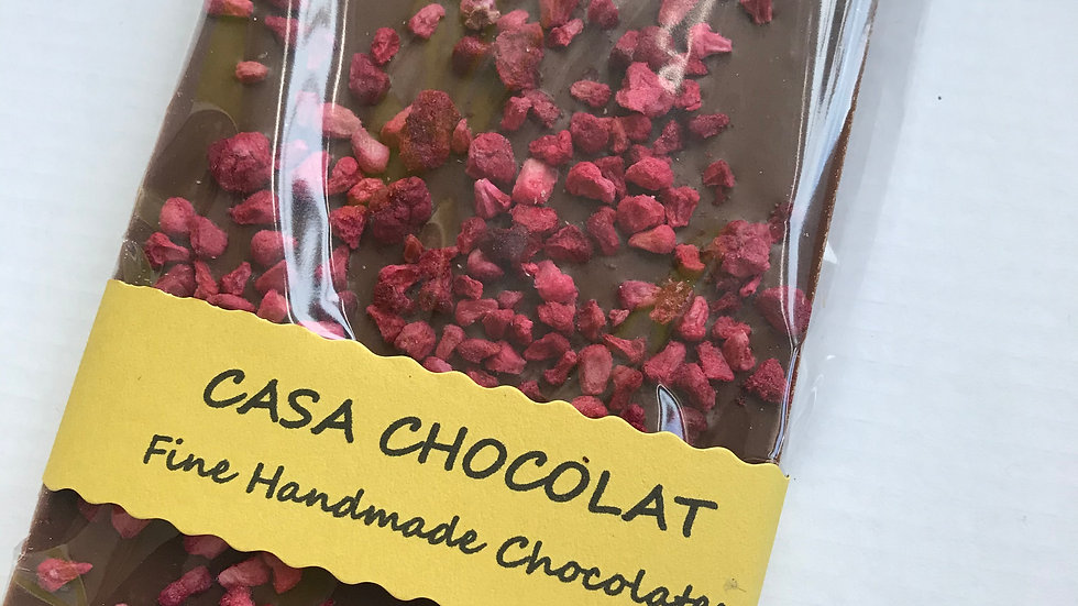 Vegan milk chocolate slab raspberry 100g
