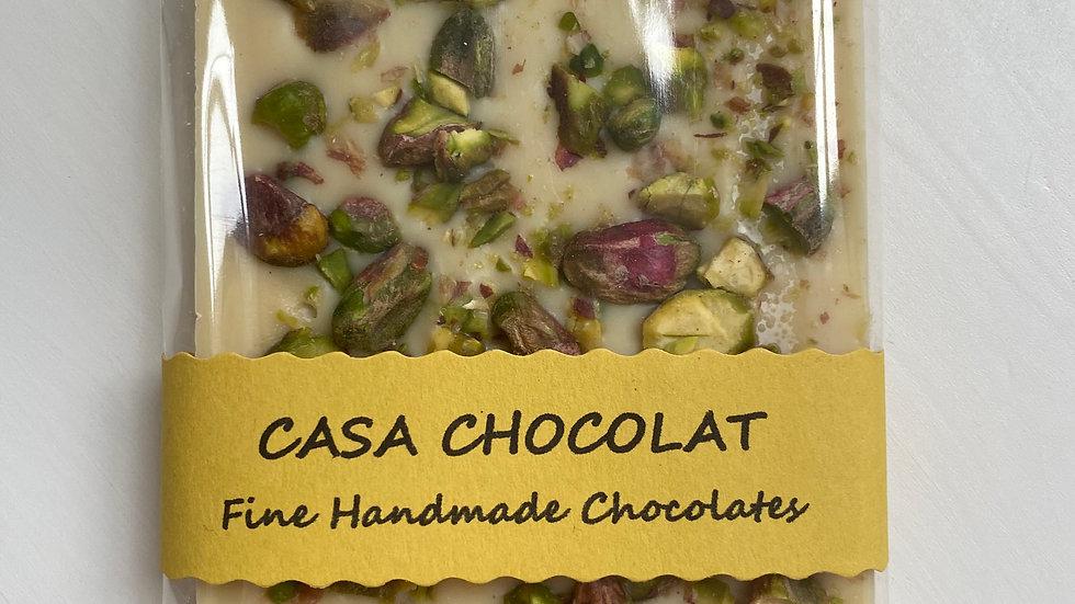Vegan white chocolate slab pistachio
