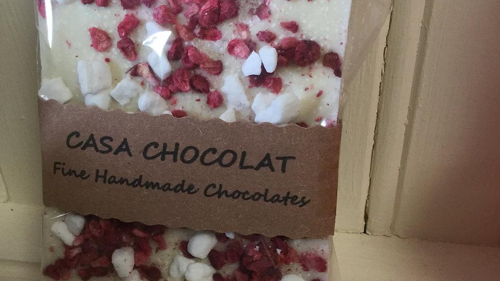 White chocolate &raspberry slab 100g