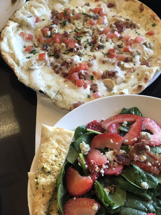 chicken bacon ranch pizza and berry super greens salad