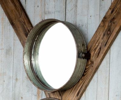 FH4094 - Galvanized Metal Drum Mirror