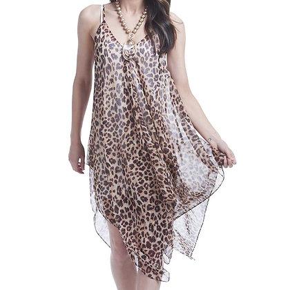 84586F - Sheer Over-Dress - Leopard Print