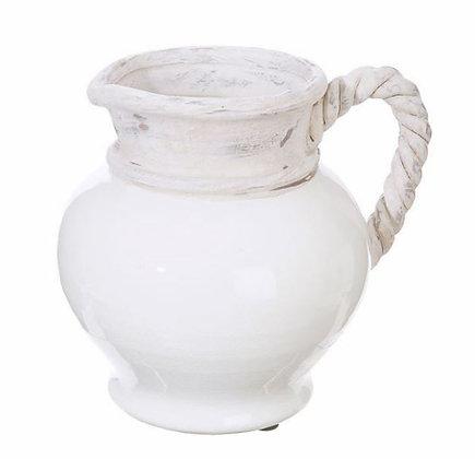 "3800813 - 8.5"" White Ceramic Pitcher w/ Rope Design Handle"