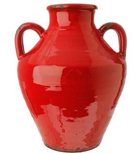 """3500850 - 11"""" Red Ceramic Urn"""