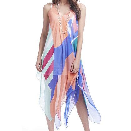 84586C - Sheer Over-Dress - Colorful Geometric Pattern