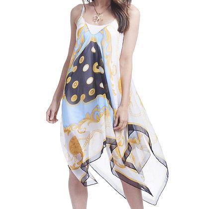 84586E - Sheer Over-Dress - White, Blue, Black &Gold Chain Design