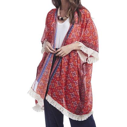 84578A - Orange Floral Print Kimono