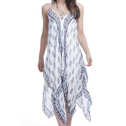 84586G - Sheer Over-Dress - Blue & White Floral