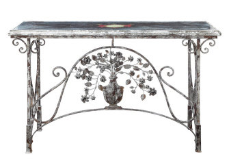 "DE2065 - 57.25"" Iron Table w/ Glass Top"