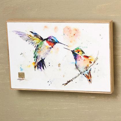 B5050130 - Lovebird Hummingbirds Watercolor Print