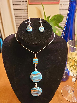 Teal Striped Triple Drop Bead Necklace