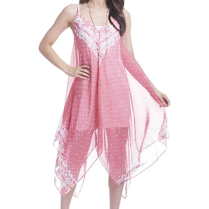 84586D -Sheer Over-Dress - Coral & White