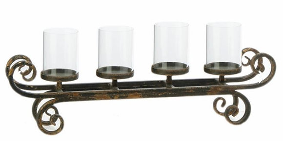 "3632221 - Metal and Glass Candle Holder (9""x24""x4"")"